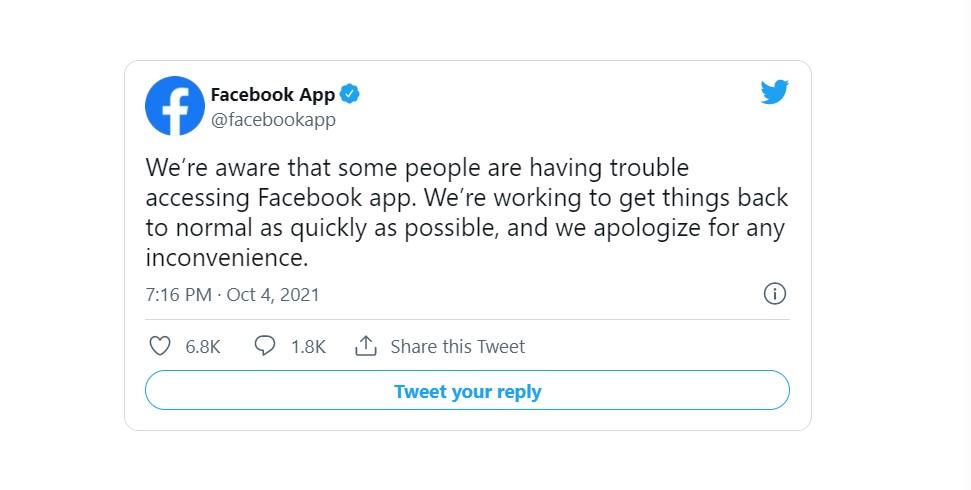 Офіційне повідомлення компанії Facebook в Twitter